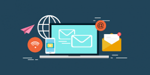 Laptop with Envelop icon and email icons
